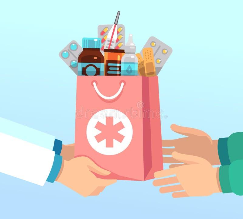 El farmacéutico da el bolso con las drogas antibióticos según receta a las manos del paciente Concepto del vector de la farmacia ilustración del vector