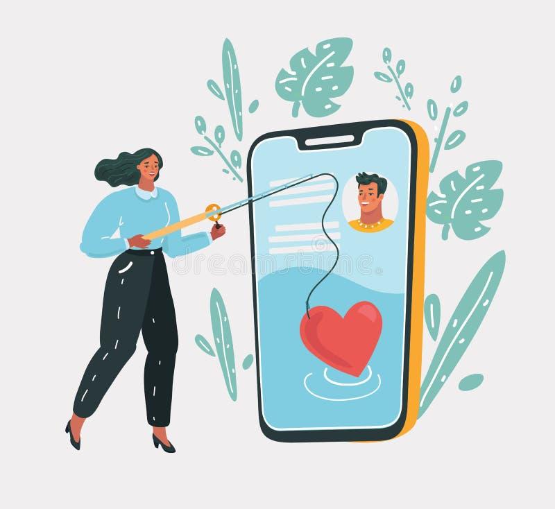 El fechar en línea, amor virtual ilustración del vector