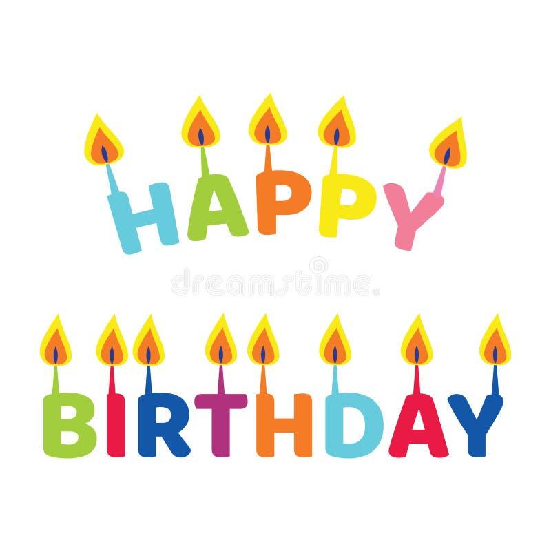 El feliz cumpleaños de la inscripción Letras bajo la forma de velas imágenes de archivo libres de regalías