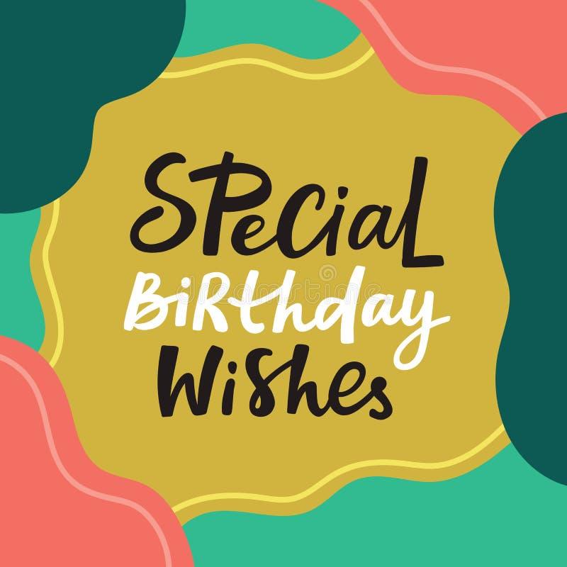 El feliz cumpleaños desea la tarjeta de felicitación con las letras handdrawn libre illustration