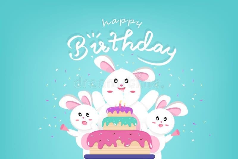 El feliz cumpleaños y Pascua feliz, conejo lindo con la torta grande, confeti celebran el partido, estilo de Kawaii, personajes d stock de ilustración