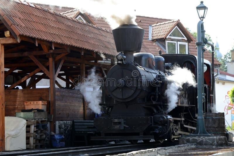 El ferrocarril con una locomotora de vapor imagenes de archivo