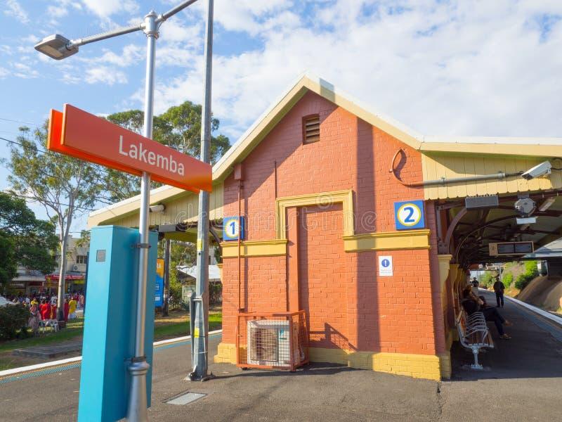 El ferrocarril de Lakemba est? situado en la l?nea de Bankstown, sirviendo el suburbio de Sydney de Lakemba imágenes de archivo libres de regalías