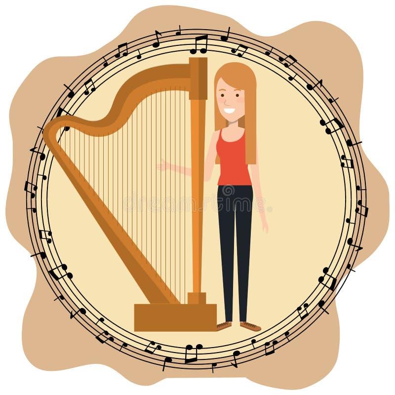El festival de música vive con la mujer que toca la arpa libre illustration