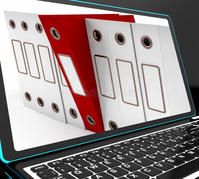 El fichero rojo en el ordenador portátil muestra los ficheros que arreglan stock de ilustración