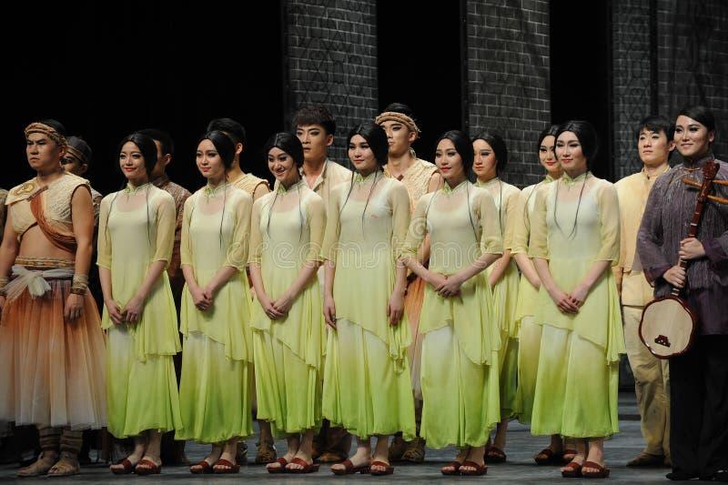 El final de la llamada- de la cortina del actor de los eventos del drama-Shawan de la danza del pasado fotos de archivo libres de regalías