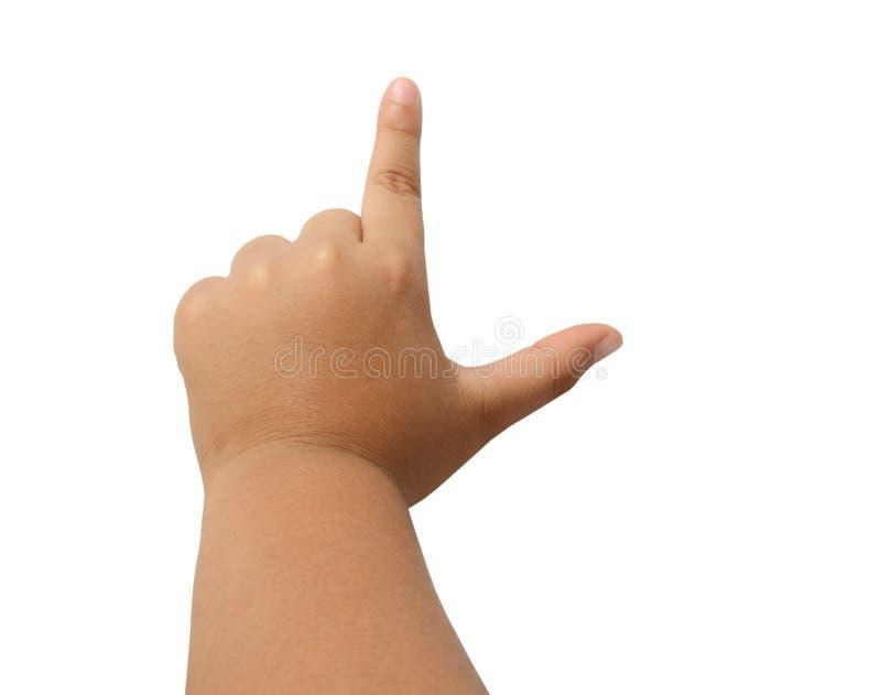El finger de la mano del niño que deletreaba la letra L muestra del alfabeto aisló el cli fotos de archivo libres de regalías