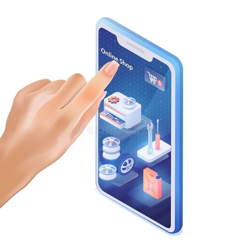 El finger masculino hace clic en la tienda del coche de la aplicación móvil libre illustration