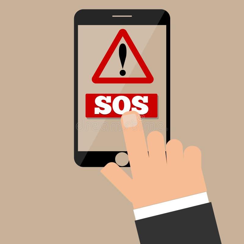 El finger presiona al botón el SOS un smartphone foto de archivo libre de regalías