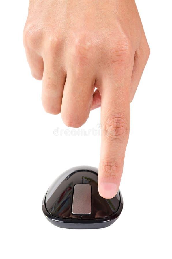 El finger señala al botón izquierdo del ratón del ordenador del tacto aislado imagen de archivo