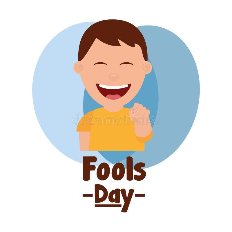 El finger sonriente del punto del hombre feliz engaña día libre illustration