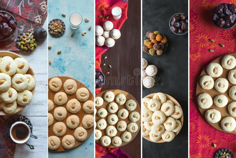 El Fitr伊斯兰教的宴餐Ghorayeba甜点曲奇饼拼贴画  斋月食物背景 免版税库存图片