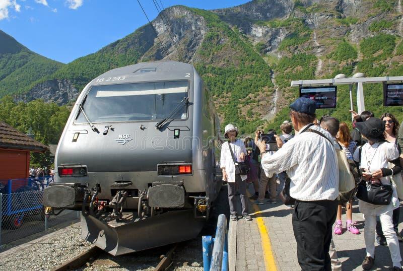 El Flam Flamsbana ferroviario en el viaje de Flam - de Noruega en pocas palabras fotos de archivo