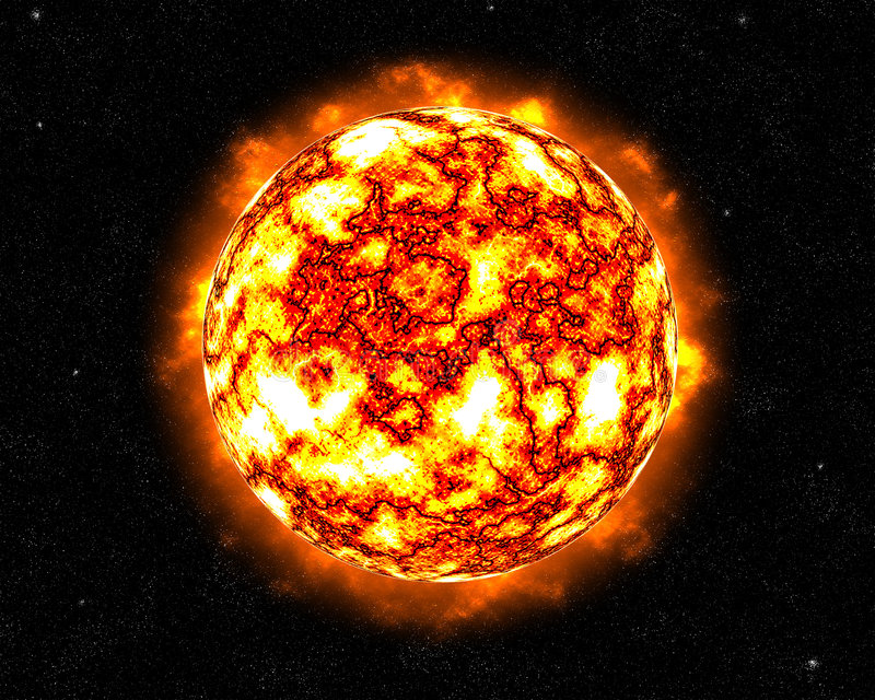El flamear Sun que señala por medio de luces libre illustration