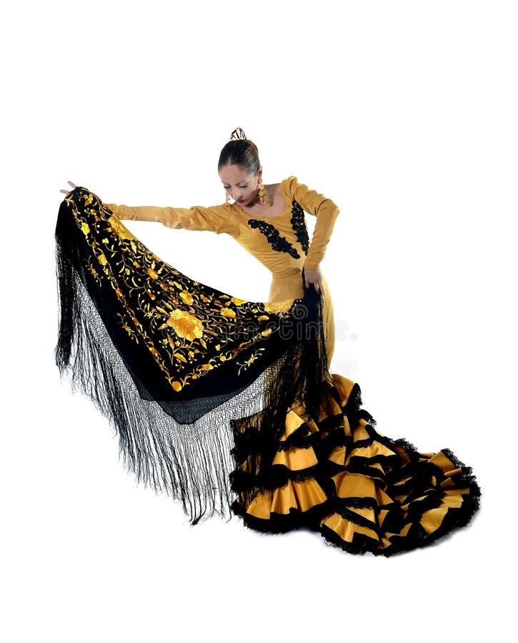 El flamenco español joven del baile de la mujer en la gente típica del mantón ató el vestido del vestido imagen de archivo libre de regalías