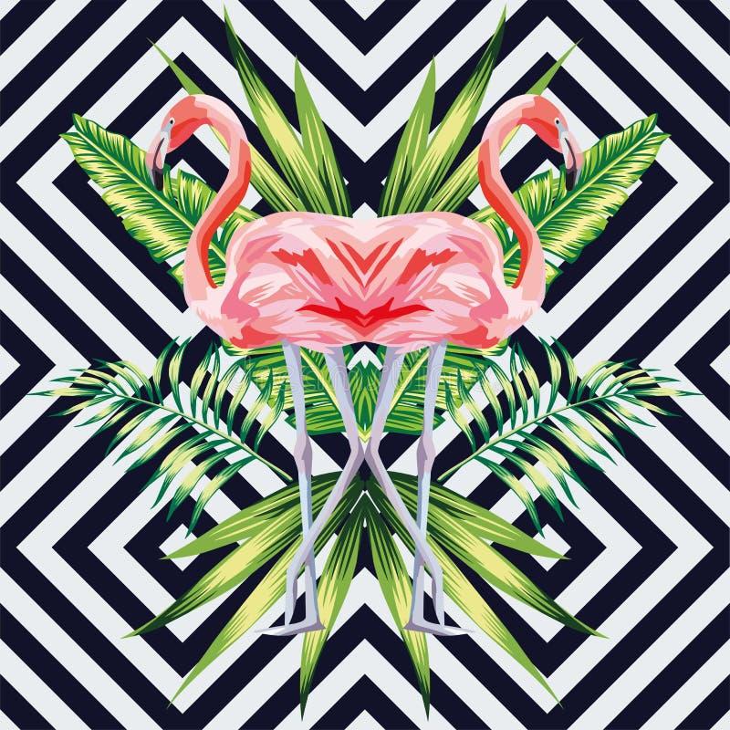 El flamenco rosado con las hojas tropicales del plátano duplica estilo stock de ilustración
