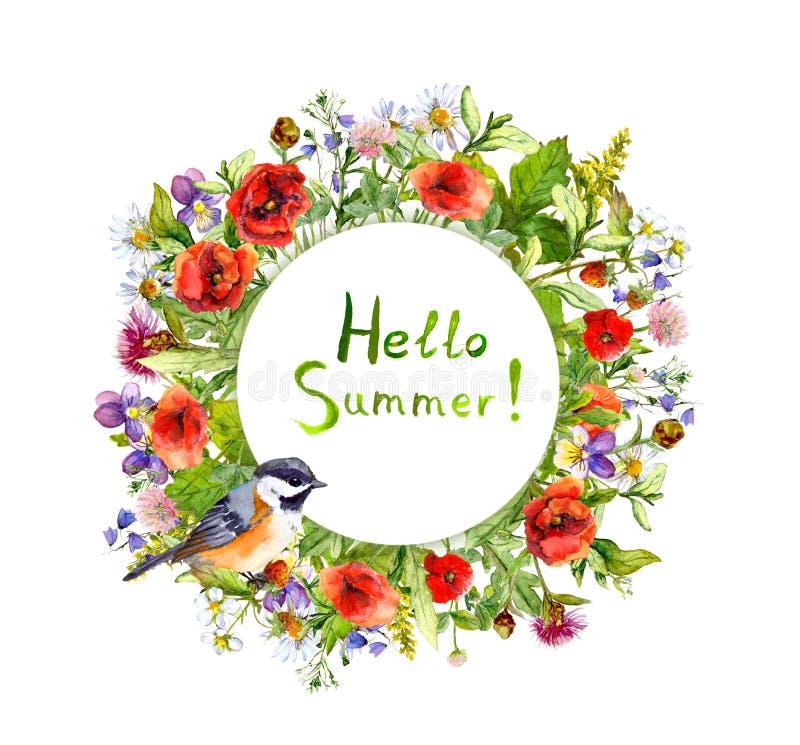 El flor florece, hierba del jardín, hierbas del verano, pájaro Guirnalda floral Tarjeta de la acuarela fotografía de archivo libre de regalías