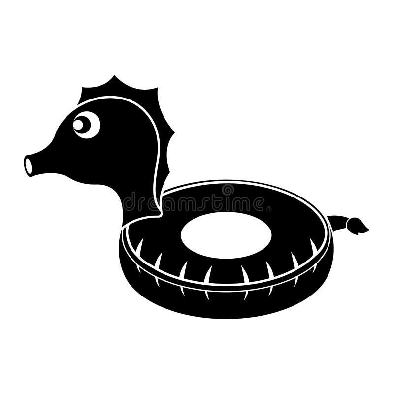 El flotador aislado de la piscina formó el icono del caballo de mar ilustración del vector