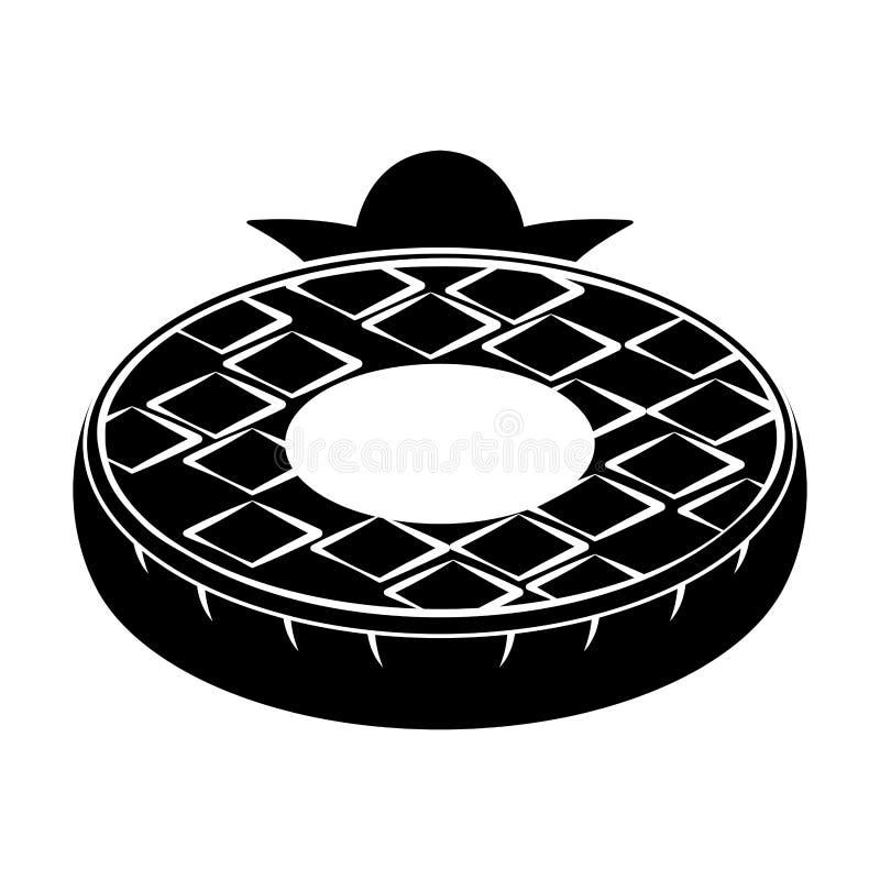 El flotador aislado de la piscina formó el icono del pineaplle stock de ilustración