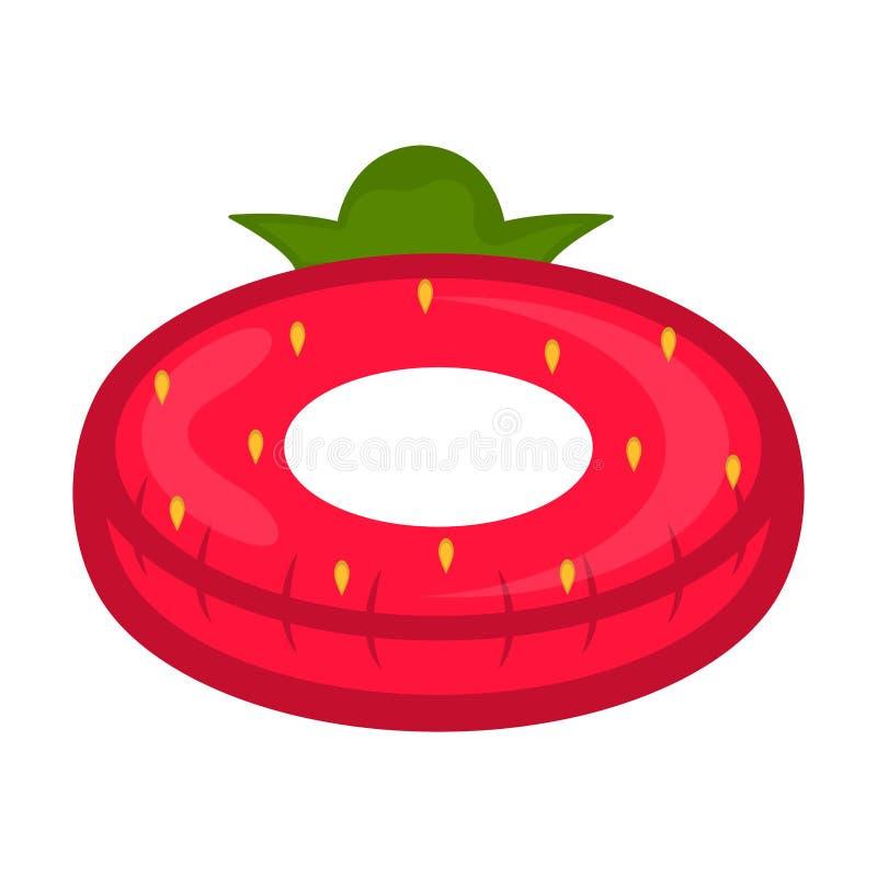 El flotador aislado de la piscina formó imagen de la fresa stock de ilustración