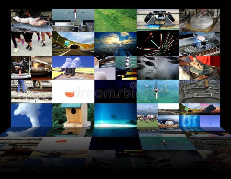El fluir con pantalla grande de la web de la pared video grande de las multimedias foto de archivo libre de regalías