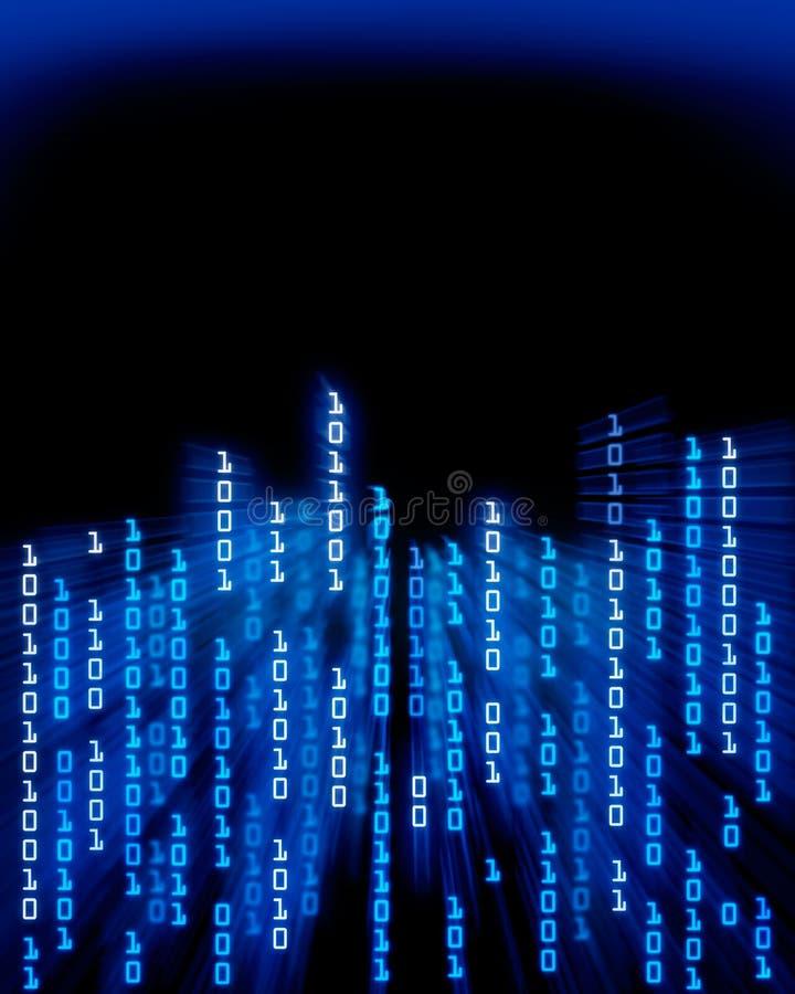 El fluir de los datos del código binario ilustración del vector