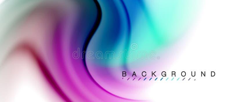 El fluir flúido del remolino colorea el efecto del movimiento, fondo abstracto olográfico stock de ilustración
