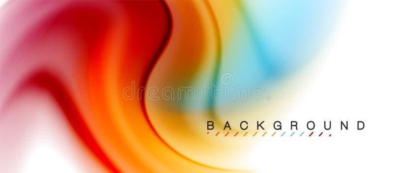 El fluir flúido del remolino colorea el efecto del movimiento, fondo abstracto olográfico ilustración del vector