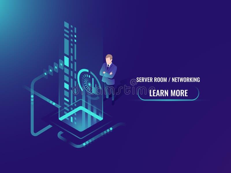 El flujo de datos isométrico que procesa, información segura sobre concepto del servidor de la nube, explora una cara de la perso libre illustration