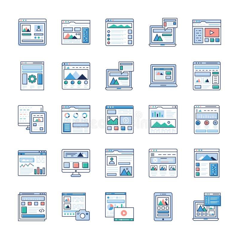 El flujo del sitio, iconos planos del marco del alambre embala ilustración del vector
