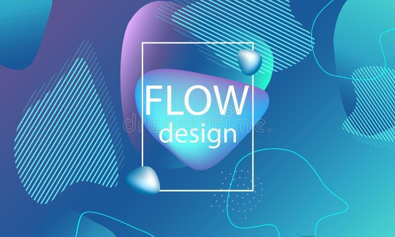 El flujo forma el fondo Cubierta abstracta ondulada imagen de archivo libre de regalías