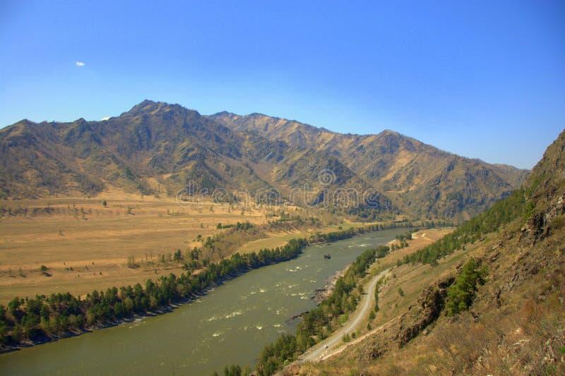 El flujo rápido del Katun a través del valle es rodeado por las altas montañas Altai, Siberia, Rusia Paisaje imagenes de archivo