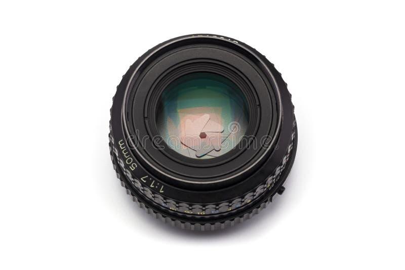 El foco manual 50m m F/1 lente de cámara 7 con la abertura estrecha fotos de archivo libres de regalías