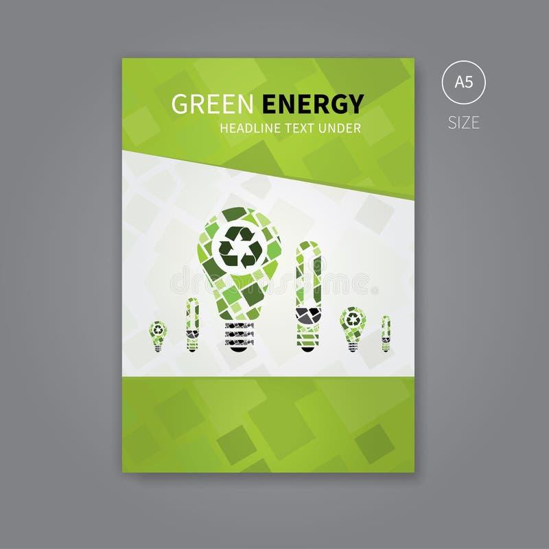 El folleto del aviador del verde recicla la energía a5 ilustración del vector