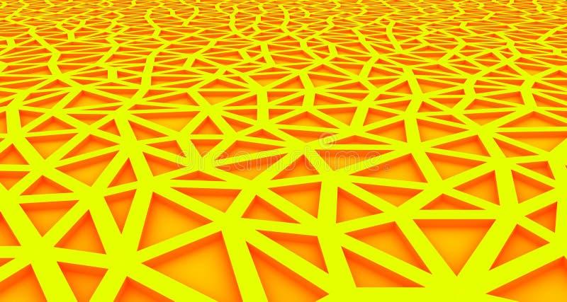 El fondo abstracto amarillo y rojo formó por los triángulos con la iluminación interior stock de ilustración