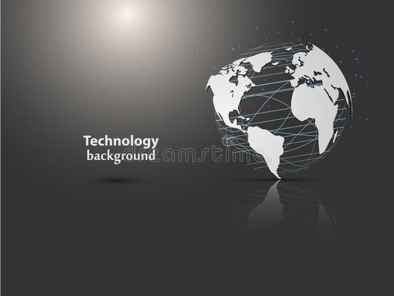 El fondo abstracto comunica con el mapa del mundo y los globos stock de ilustración