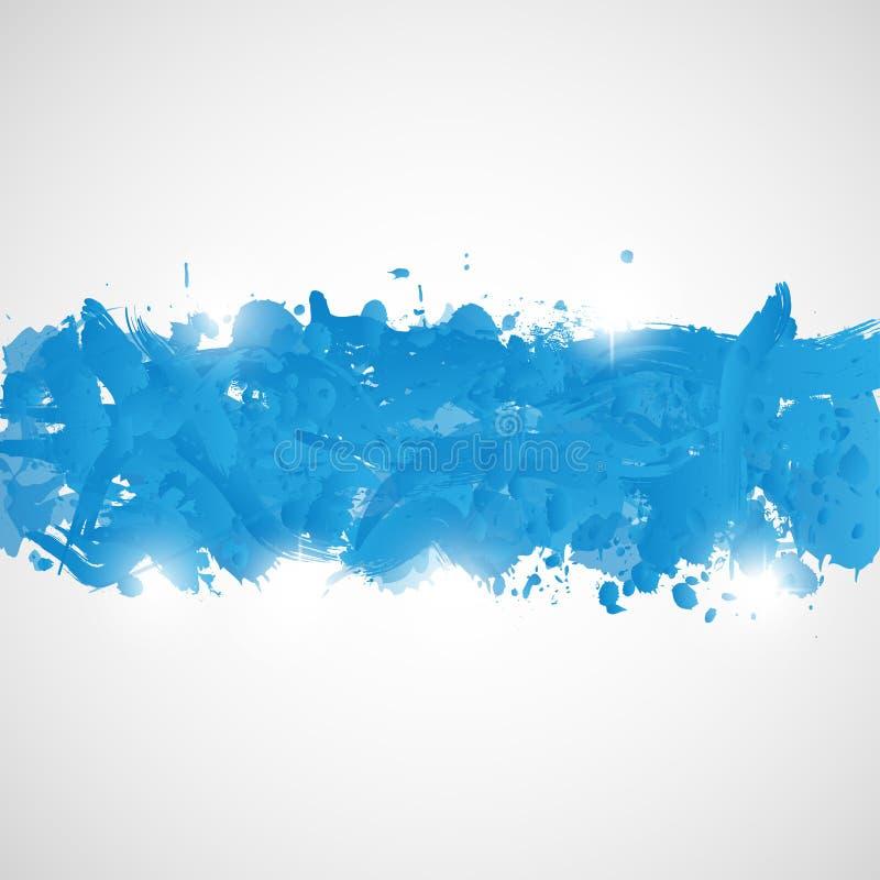 El fondo abstracto con la pintura azul salpica. ilustración del vector