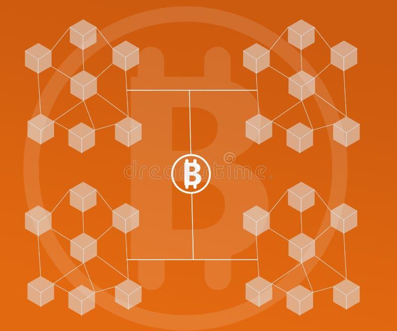 El fondo abstracto conectó los bloques Bitcoin en pendientes anaranjadas del color libre illustration