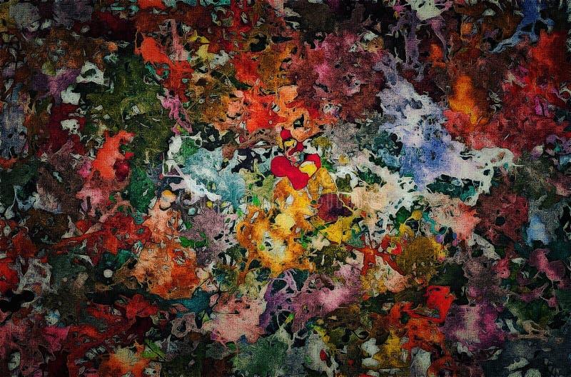 El fondo abstracto de las manchas caóticas de las pinturas del color del espray y mancha la falta de definición de los rastros en libre illustration