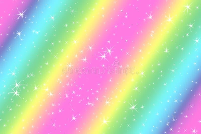 El fondo abstracto del color del arco iris con las estrellas ligeras suaves presentó el fondo del concepto ideal en contenido dul stock de ilustración