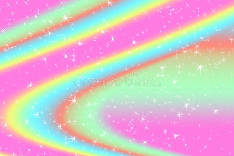 El fondo abstracto del color del arco iris con las estrellas ligeras suaves presentó el fondo del concepto ideal en contenido dul ilustración del vector