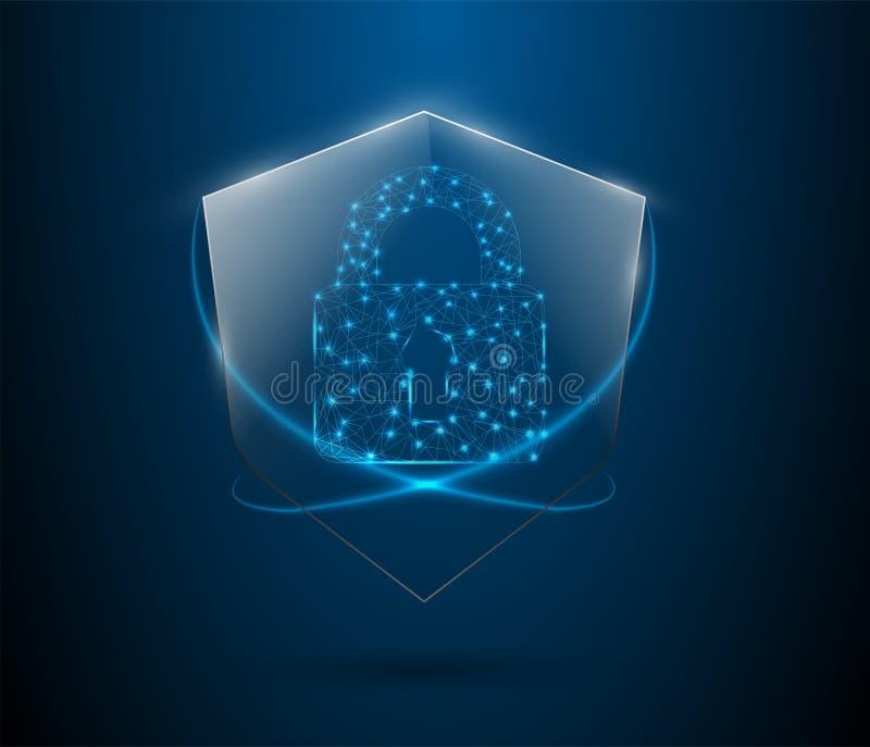 El fondo abstracto digital cibernético protegido de la tecnología de la seguridad del concepto de la seguridad del escudo del gua ilustración del vector