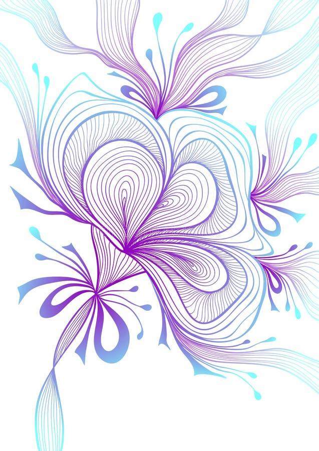 El fondo abstracto ligero hermoso con la flor del cordón arquea la lila azul en blanco libre illustration