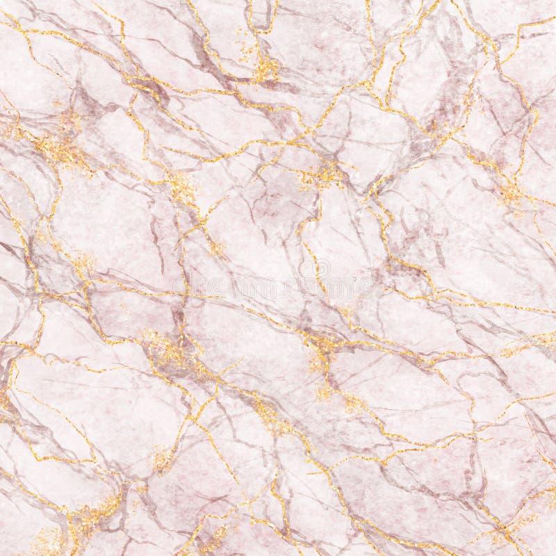 El fondo abstracto, el mármol blanco con brillo del oro y la textura de piedra de las venas rosadas, pintaron la superficie vetea ilustración del vector