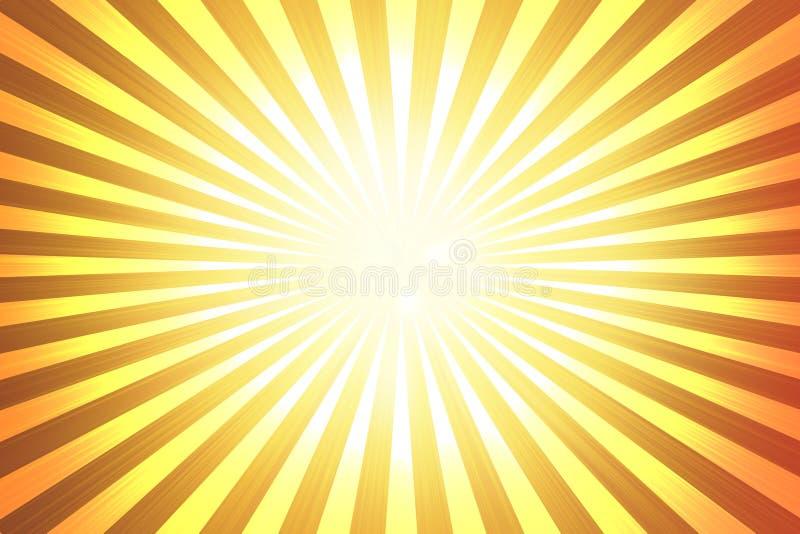 El fondo amarillo abstracto, naranja, sol irradia stock de ilustración