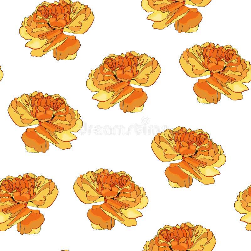 El fondo amarillo con la mitad del vintage abierta brota de tulipanes ilustración del vector