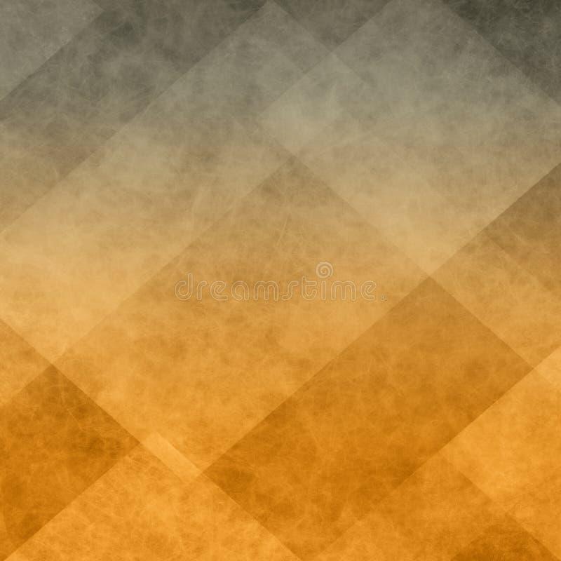 El fondo anaranjado y negro del triángulo y del bloque abstractos del diamante forma en otoño o los colores calientes de Hallowee ilustración del vector