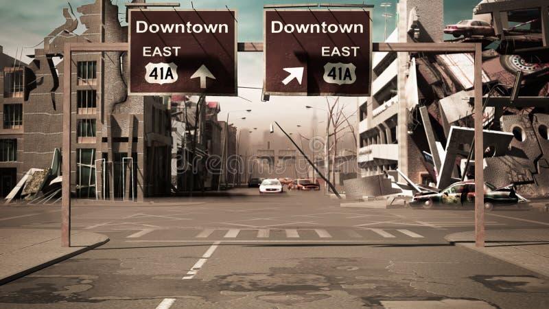 El fondo arruinado de la ciudad en el estilo 3d de la apocalipsis de los posts rinde ilustración del vector