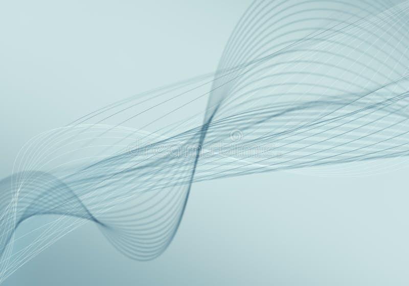 El fondo azul abstracto con las líneas y los puntos conectados fluyen stock de ilustración