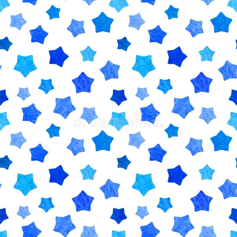 El fondo azul brillante de las estrellas de la acuarela se puede copiar sin ningunas costuras Gráfico de la mano Ilustración del  stock de ilustración